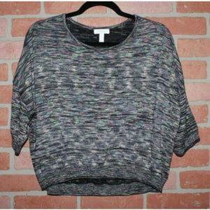 Leith Black & Neon Spacedye Cropped Dolman Sweater